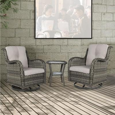 3-PieceWickerPatio Conversation SetwithBeigeCushions and CoverAll-Weather Swivel RockingPatio Chairs