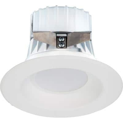 1-Light Indoor/Outdoor 4 in. 3000K White Aluminum Integrated LED Recessed Retrofit Downlight and Round Trim and Lens