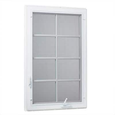 30 in. x 60 in. Left-Hand Vinyl Casement Window with Grids and Screen in White