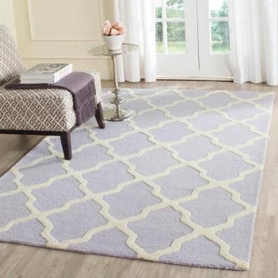 Cambridge Lavender/Ivory 8 ft. x 10 ft. Geometric Trellis Area Rug