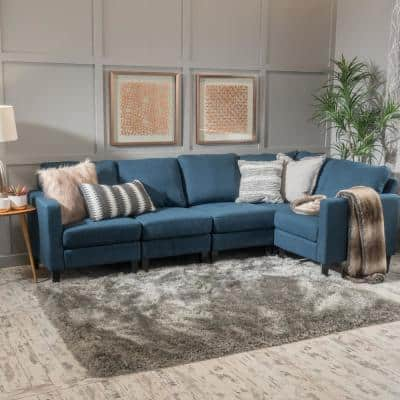 5-Piece Dark Blue Polyester 4-Seater L-Shaped Sectional Sofa with Wood Legs