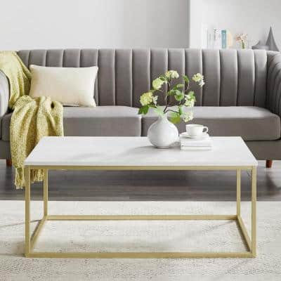 42 in. White/Gold Large Rectangle Wood Coffee Table