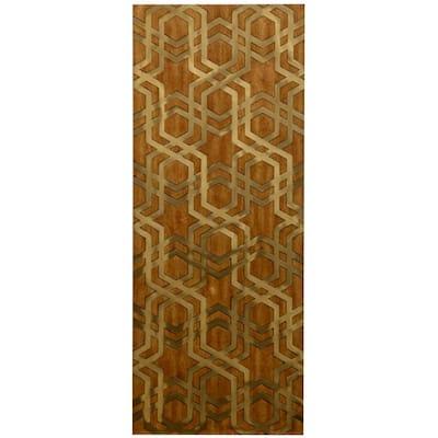 Brass Harmony Mid-Century Wood with Metal Inlay