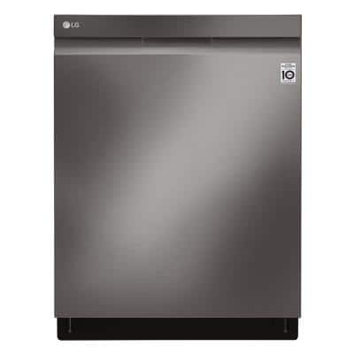 24 in. PrintProof Black Stainless Steel Top Control Built-In Smart Dishwasher with TrueSteam & QuadWash, 44 dBA