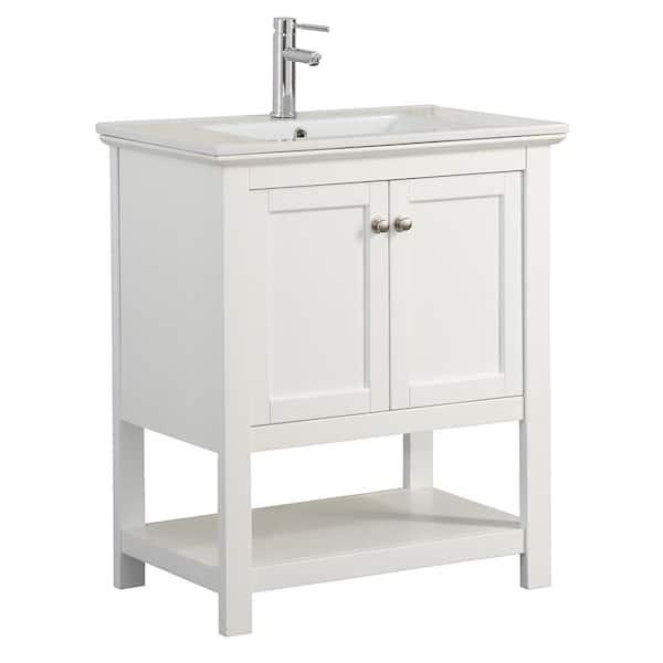 W Traditional Bathroom Vanity In White, Home Depot Bathroom Vanities 30