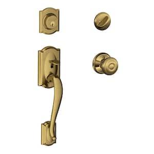 Camelot Antique Brass Single Cylinder Deadbolt with Georgian Knob Door Handleset