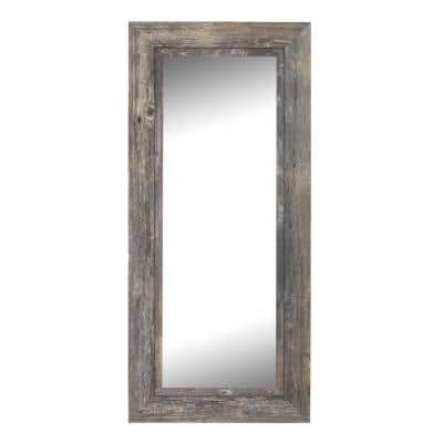 Coastal 82.5 in. x 41.5 in. Rustic Rectangle Framed Gray Decorative Mirror