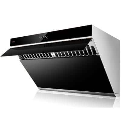 Slant Vent Series 30 in. 850 CFM Side Draft Air Extraction Under Cabinet or Wall Mount Range Hood in Onyx Black