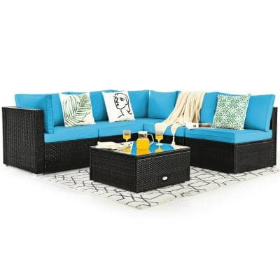 6-Piece Rattan Patio Furniture Set Cushioned Sofa Coffee Table Garden with Turquoise Cushion