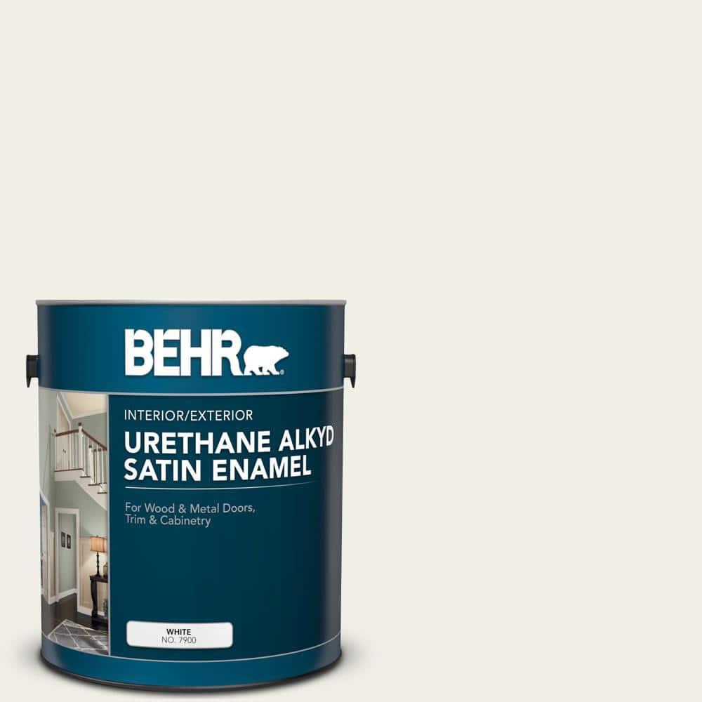 BEHR 1 gal. #ECC-63-2 Aspen Snow Urethane Alkyd Satin Enamel Interior/Exterior Paint