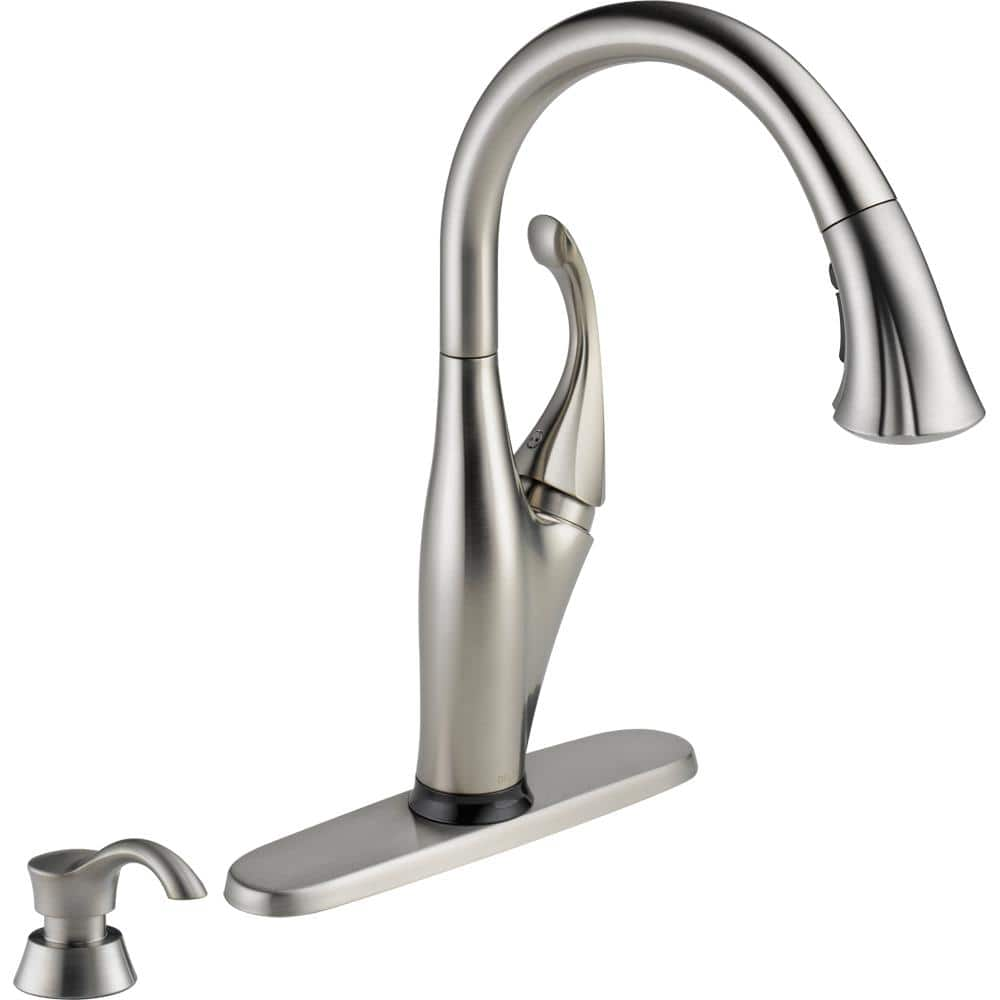 Delta Addison Single Handle Pull Down Sprayer Kitchen Faucet With Touch2o Technology And Soap Dispenser In Stainless 9192t Sssd Dst The Home Depot