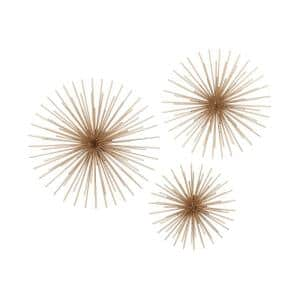 24 in. x 24 in. Gold Metal Contemporary Wall Decor (Set of 3)