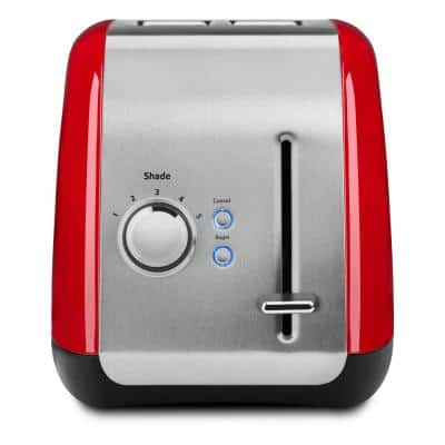 Empire 2-Slice Red Wide Slot Toaster with Crumb Tray
