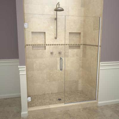 2000V Series 59 in. W x 72 in. H Semi-Frameless Pivot Shower Door in Polished Chrome with Pull Handles and Clear Glass