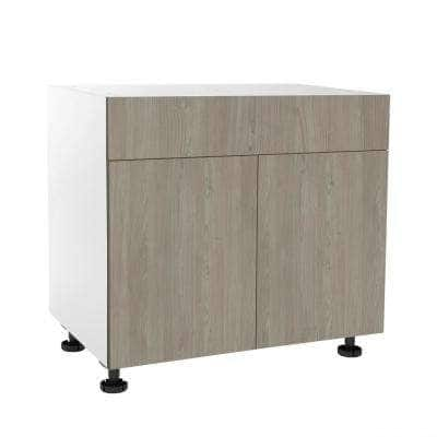 Ready to Assemble Threespine 36 in. x 34.5 in. x 24 in. Stock Sink Base Cabinet in Grey Nordic