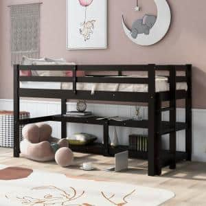 Espresso Twin Size Wood Loft Bed with Shelves