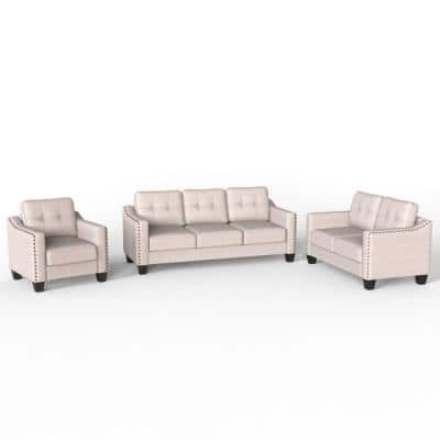 3-Piece Beige Living Room Polyester Sofa Set 1-Sofa 1-Loveseat and 1-Armchair with Rivet on Arm Tufted Back Cushions