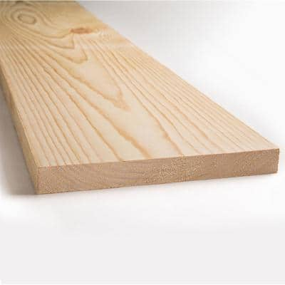 1 in. x 12 in. x 8 ft. Kiln Dried Square Edge Whitewood