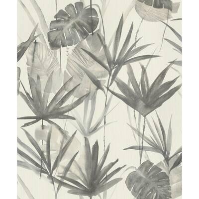 Nameri Grey Tropical Frond Wallpaper Sample