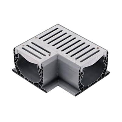 Spee-D Channel Drain 90 Degree Elbow and Grate, Gray Plastic