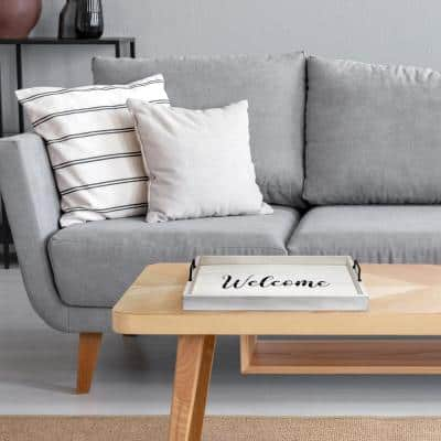 """""""Welcome"""" White Wash Decorative Wood Serving Tray"""