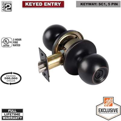 2-1/8 in. Grade-2 Aged Bronze Commercial Entry Keyed Door Knob