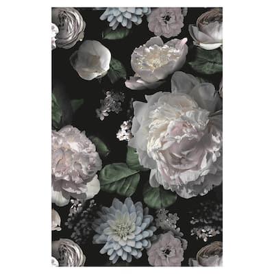 Moody Black 1 ft. 8 in. x 2 ft. 6 in. Floral Indoor/Outdoor Vinyl Floor Rug