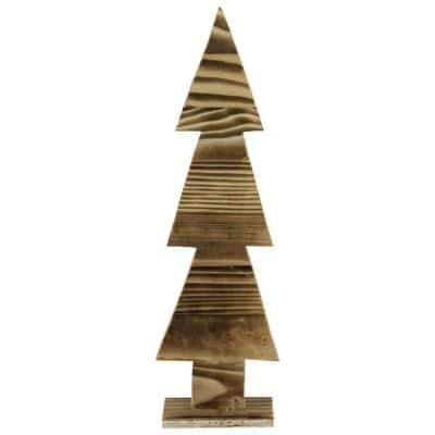 16.25 in. Rustic Wood Cut-Out Christmas Tree Table Top Decoration