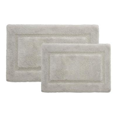 Solid Bordered Ringspun Cotton Glacier Gray 20 in. x 32 in. and 17 in. x 24 in. 2-Piece Bath Accent Rug Set