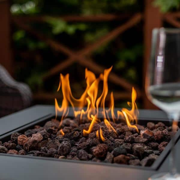 W x 28 in Living Accents Square Steel Tabletop Propane Fire Pit 25.5 in D Aluminum Case of: 1; H x 28 in