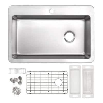 Offset Drain Kitchen Sink 16 Gauge Stainless Steel (33 in. x 22 in. Drop-In Top Mount)