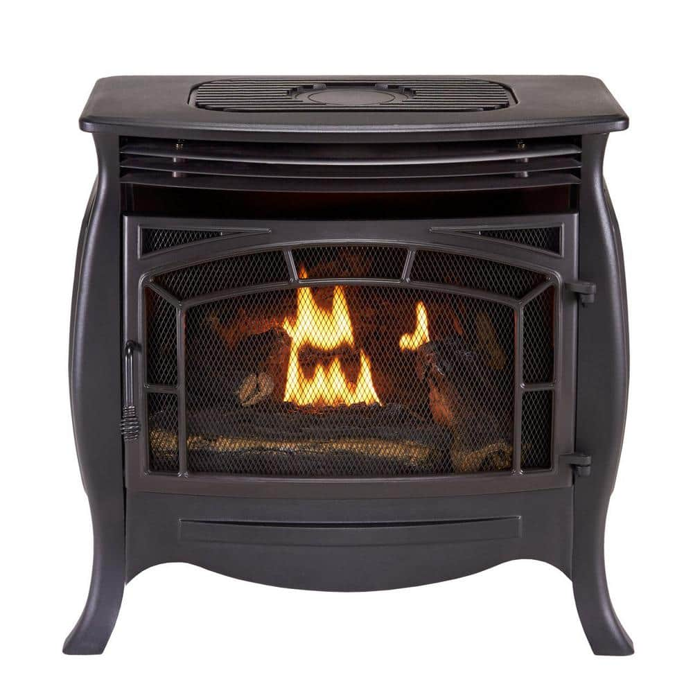 Duluth Forge 26 000 Btu Ventless Dual Fuel Gas Stove With Remote Control 170037 The Home Depot