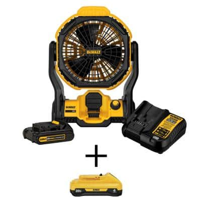 20-Volt MAX Cordless and Corded 11 in. Jobsite Fan, (1) 20-Volt 2.0Ah Battery, (1) 20-Volt 4.0Ah Battery & Charger