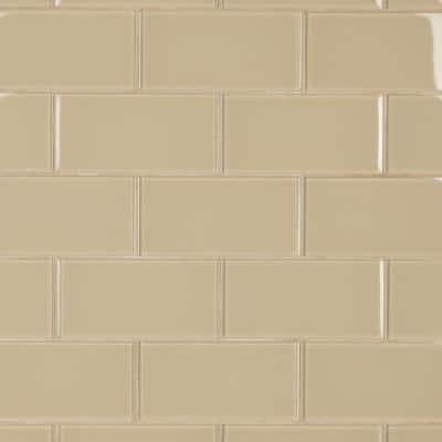 Tessera Subway Sandstone 3 in. x 6 in. Glass Wall Tile (10.96 sq. ft. /Case)