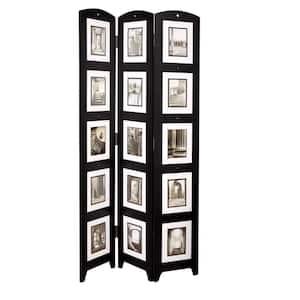 kieragrace KG Providence Photo Triple-Panel Wood Room Divider - Black