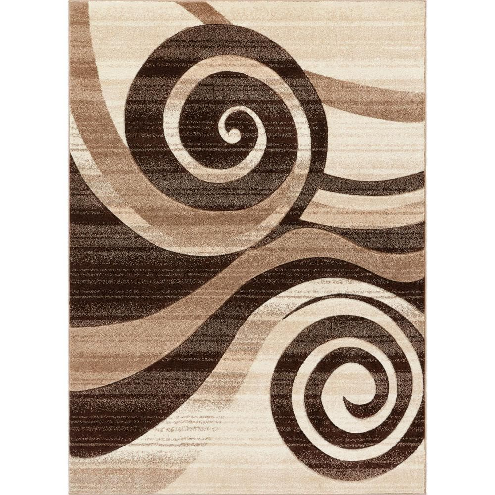 Well Woven Ruby Whirlwind Brown 4 Ft X 5 Ft Modern Area Rug 600584 The Home Depot
