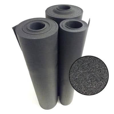 Recycled Flooring 1/4 in. T x 4 ft. W x 10 ft. L Black Commercial Rubber Flooring Mats
