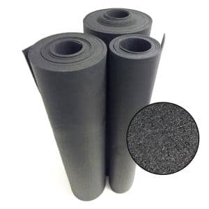 ''Recycled Flooring'' - 1/4 in. H x 4 ft. W x 3 ft. L Black Commercial Rubber Flooring Mats (12 sq. ft.)