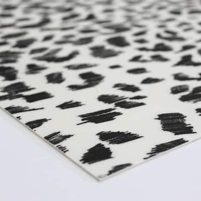 Black and White 4 ft. x 4 ft. Animal Print Indoor/Outdoor Vinyl Floor Rug