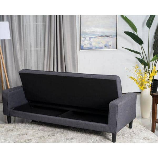 Good Gracious 73 In Gray Fabric 3 Seats Sectional Sofa Bed With Storage Function For Small Space Living Room Bedroom Hdsct Bst The Home Depot