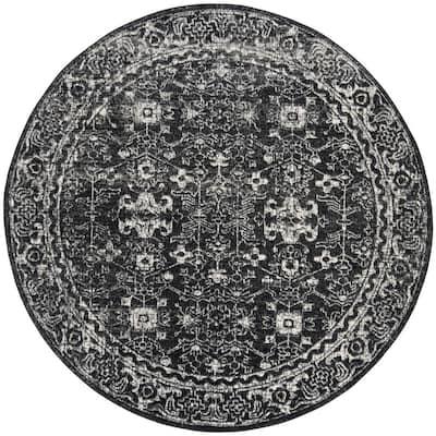 Evoke Charcoal/Ivory 7 ft. x 7 ft. Round Border Area Rug