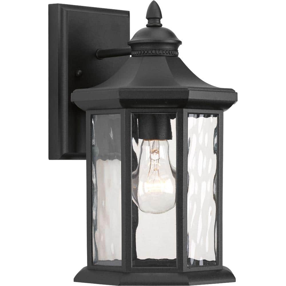 Progress Lighting Edition Collection 1 Light Textured Black Clear Water Glass Traditional Outdoor Medium Wall Lantern Light P6071 31 The Home Depot