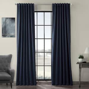 Navy Blue Rod Pocket Blackout Curtain - 50 in. W x 108 in. L