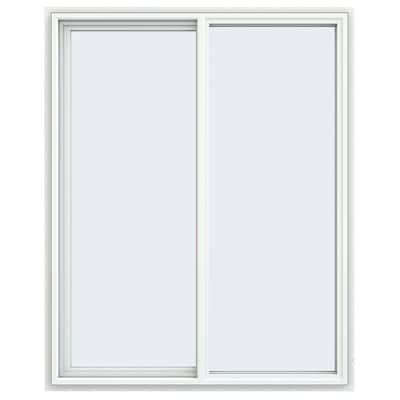 47.5 in. x 59.5 in. V-4500 Series White Vinyl Left-Handed Sliding Window with Fiberglass Mesh Screen