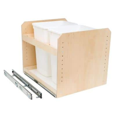 Made-To-Fit 35 qt. Dual Bin Slide-Out Trash/Recycle Center 11 in. to 24 in. Wide with Full Extension (Bins Not Included)