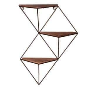 Step 5.88 in. x 17.5 in. x 25.38 in. Black and Brown Wood and Metal Corner Decorative Wall Shelf