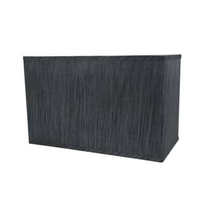 16 in. x 10 in. Grey and Black and Striped Pattern Hardback Rectangular Lamp Shade