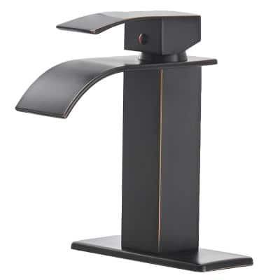 Waterfall Single Hole Single-Handle Low-Arc Bathroom Faucet With Supply Line in Oil Rubbed Bronze