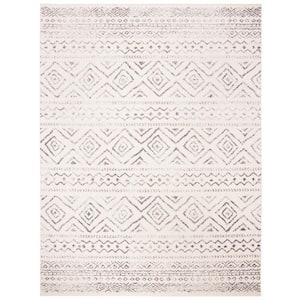 Tulum Ivory/Gray 8 ft. x 10 ft. Striped Geometric Diamonds Area Rug