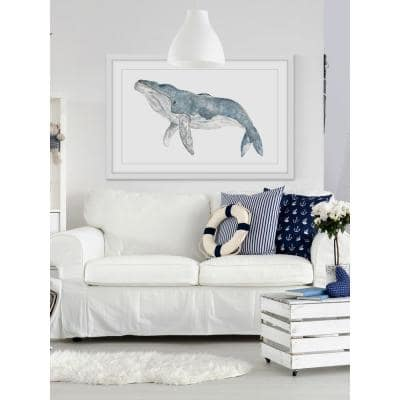 "30 in. H x 45 in. W ""Humpback Whale"" by Thimble Sparrow Framed Printed Wall Art"